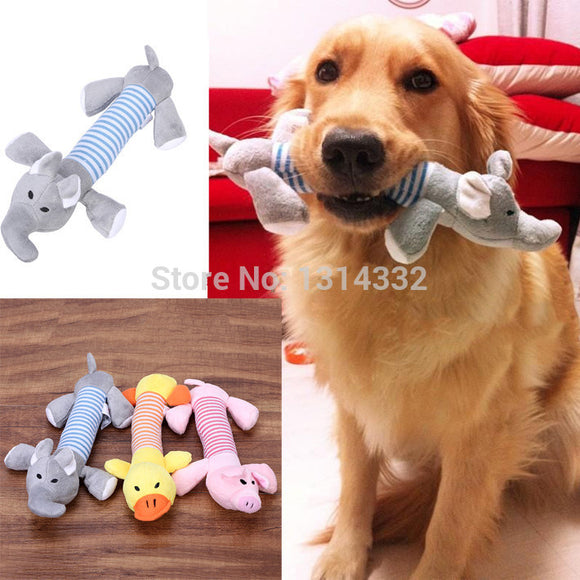 Free shipping Dog Pet Puppy Plush Sound Dog Toys Pet Puppy Chew Squeaker Squeaky Plush Sound Duck Pig & Elephant Toys 3 Designs - Swag for My Dog