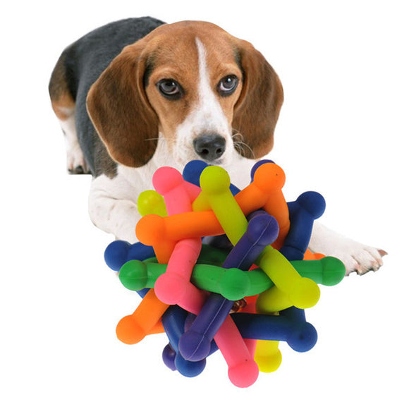 Pets Toy Color Pet Small Dog Toys Ball Safety Rubber Squeak Built-in Bells Bite Toys for Dogs Goods for Pet Puppy Cats Kitty - Swag for My Dog