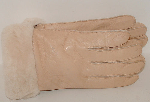 Warm Beige Sheepskin Shearling Gloves Handmade size S-M