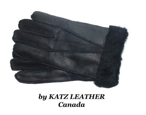 Black 100% Sheepskin Shearling Leather Men's Gloves Warm Winter L-XL