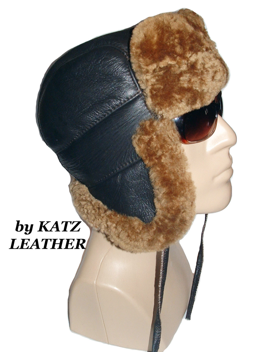 Sheepskin hunter bomber aviator hat by Ben Katz. Real shearling, super warm. Classic style.