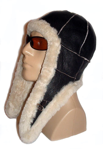 Sheepskin bomber aviator hat by Ben Katz. Real shearling, super warm. Long flaps.