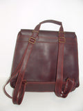 Genuine Waxed Leather Backpack, Unisex , color Eggplant-Red Handmade by Ben Katz