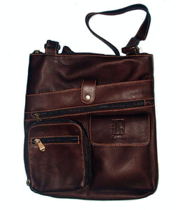 Copy of Genuine Leather Crossbody Messenger Bag, Unisex Brown Leather Bag, Leather Handbag Satchel, Handmade by Ben Katz 3 divisions.