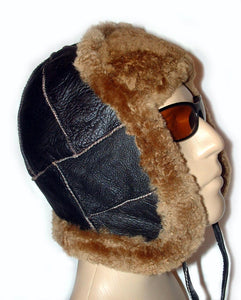 Sheepskin bomber aviator hat by Ben Katz. Real shearling, super warm. Classic pilot style