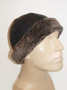 Round Black Sheepskin winter hat by Ben Katz with Grey wool. Real shearling, super warm. Classic design.