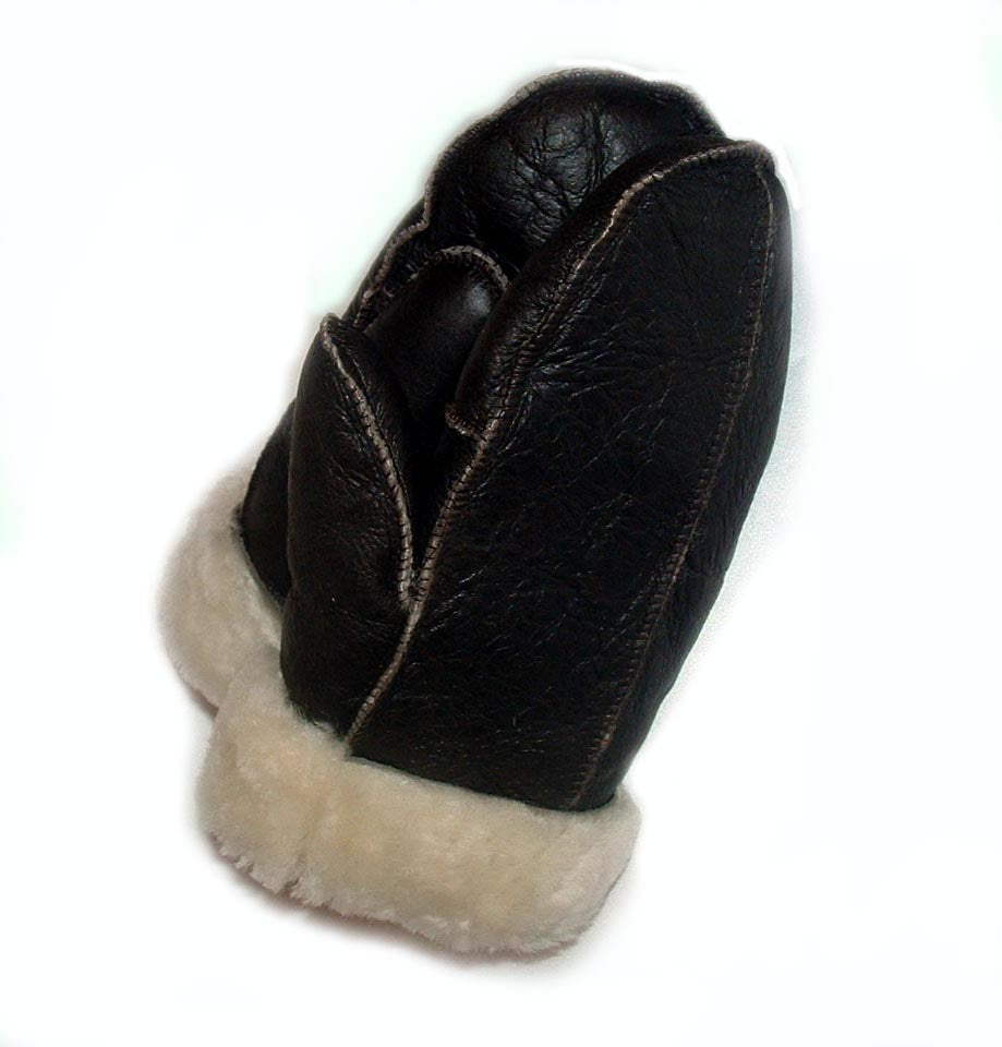 Warm Brown on Natural Sheepskin shearling Mittens