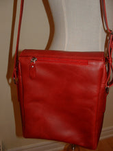 Genuine Leather Crossbody Messenger Bag, Unisex Red Leather Bag, Leather Handbag Satchel, Handmade by Ben Katz 3 divisions.