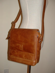 Genuine Leather Crossbody Messenger Bag, Unisex Brown Leather Bag, Leather Handbag Satchel, Handmade by Ben Katz 3 divisions.