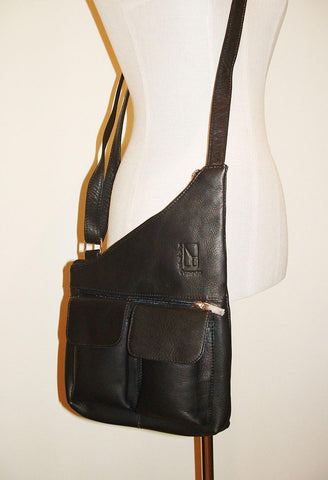 Genuine Leather Crossbody Messenger Bag, Unisex Black Leather Bag, Leather Handbag Satchel, Handmade by Ben Katz 3 divisions.
