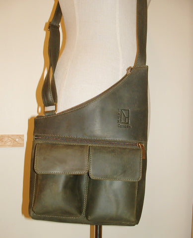 Genuine Leather Crossbody Messenger Bag, Unisex English Green Leather Bag, Leather Handbag Satchel, Handmade by Ben Katz 3 divisions.