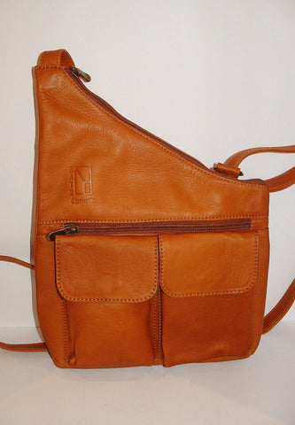 Genuine Leather Crossbody Messenger Bag, Unisex Tan Leather Bag, Leather Handbag Satchel, Handmade by Ben Katz 3 divisions.