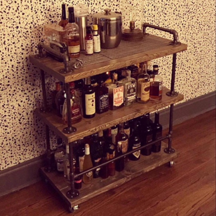 Large Industrial Bar Cart