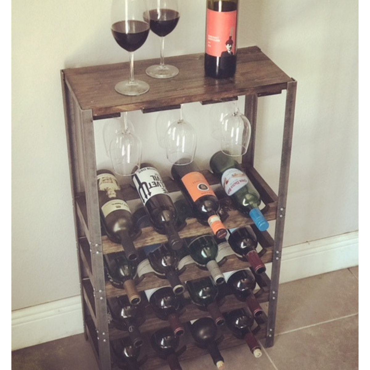 Rustic Wine Rack | 16 Bottle