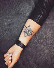 Geometric Rose Tattoo.