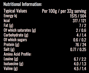 Nutritional information of crushed proteins cricket protein powder