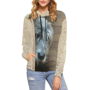 Watching You Women's All Over Print Hoodie - wolfhound wearables Hoodies - dog art  Hoodies - pet art Hoodies - dog shirt