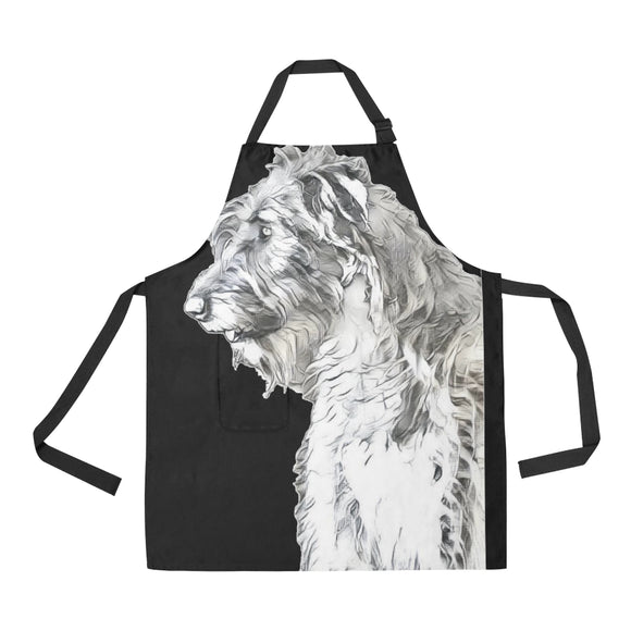 Lilly in the Light Apron All Over Print Apron - wolfhound wearables All Over Print Apron - dog art  All Over Print Apron - pet art All Over Print Apron - dog shirt