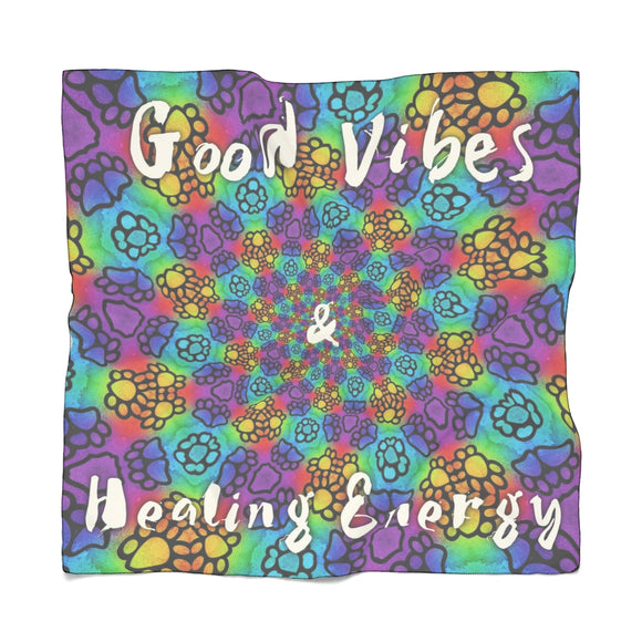 Good Vibes Poly Scarf - wolfhound wearables Accessories - dog art  Accessories - pet art Accessories - dog shirt