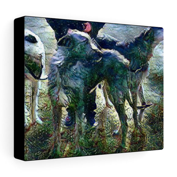 Stormy Night Wolfhounds on Stretched canvas - wolfhound wearables Artwork - dog art  Artwork - pet art Artwork - dog shirt