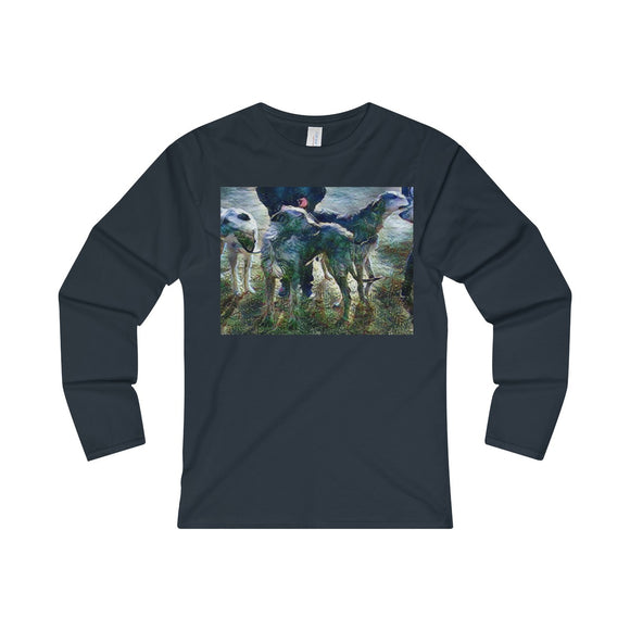 Stormy Night Wolfhounds - Ladies' Long Sleeve T-Shirt - wolfhound wearables Long-sleeve - dog art  Long-sleeve - pet art Long-sleeve - dog shirt