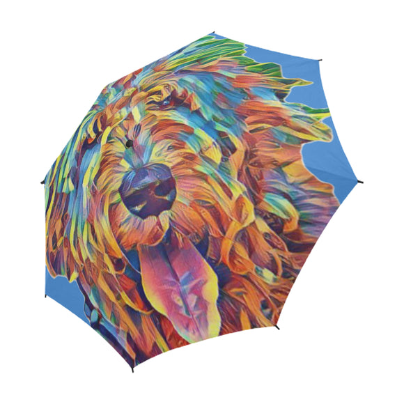 Crazy Hair Semi-Automatic Foldable Umbrella - wolfhound wearables Semi-Automatic Foldable Umbrella - dog art  Semi-Automatic Foldable Umbrella - pet art Semi-Automatic Foldable Umbrella - dog shirt