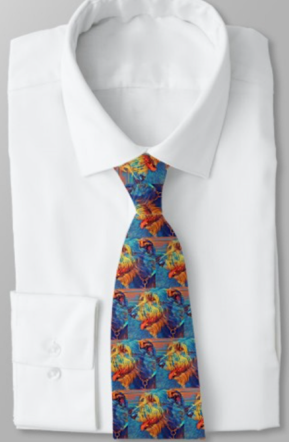 Colorful Wolfhound Men's Necktie - wolfhound wearables Necktie - dog art  Necktie - pet art Necktie - dog shirt