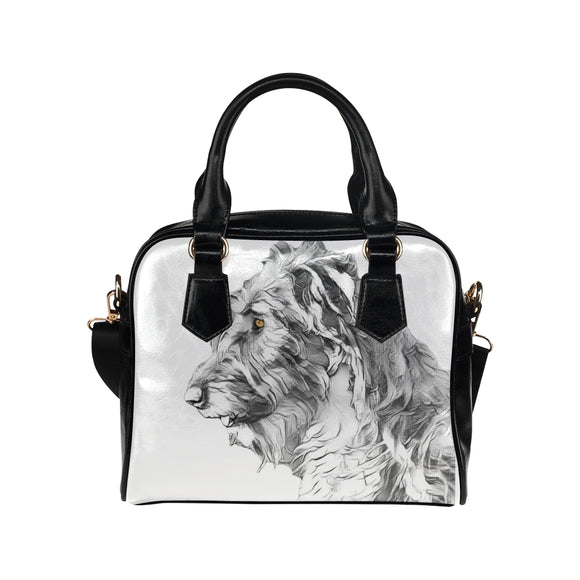 Lilly in the Light Sketch -  Wolfhound Shoulder Handbag     (Model 1634) - wolfhound wearables Shoulder Handbags (1634) - dog art  Shoulder Handbags (1634) - pet art Shoulder Handbags (1634) - dog shirt