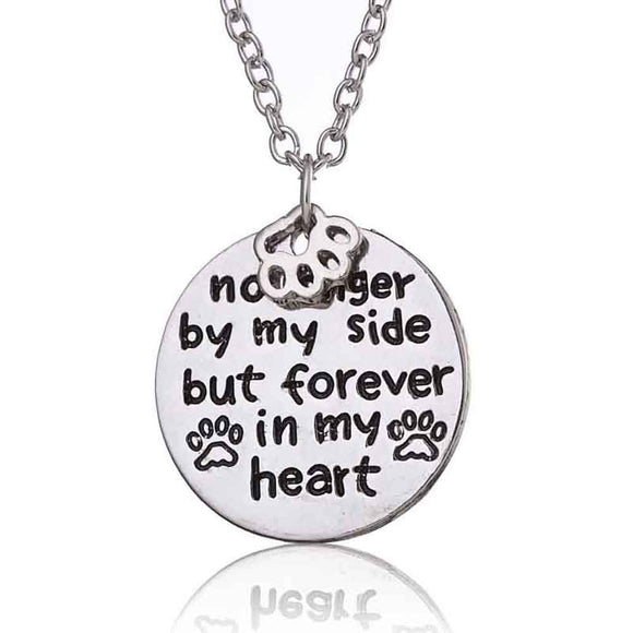 No Longer by My Side But Forever In My Heart Paw Prints Necklace - wolfhound wearables jewelry for dog lovers - dog art  jewelry for dog lovers - pet art jewelry for dog lovers - dog shirt
