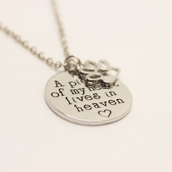 A Piece of My Heart Lives In Heaven Necklace - wolfhound wearables jewelry for dog lovers - dog art  jewelry for dog lovers - pet art jewelry for dog lovers - dog shirt