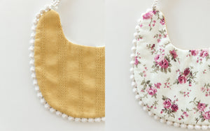 Scalloped Bib in Mangos & Florals // Double Sided - Reverie Threads