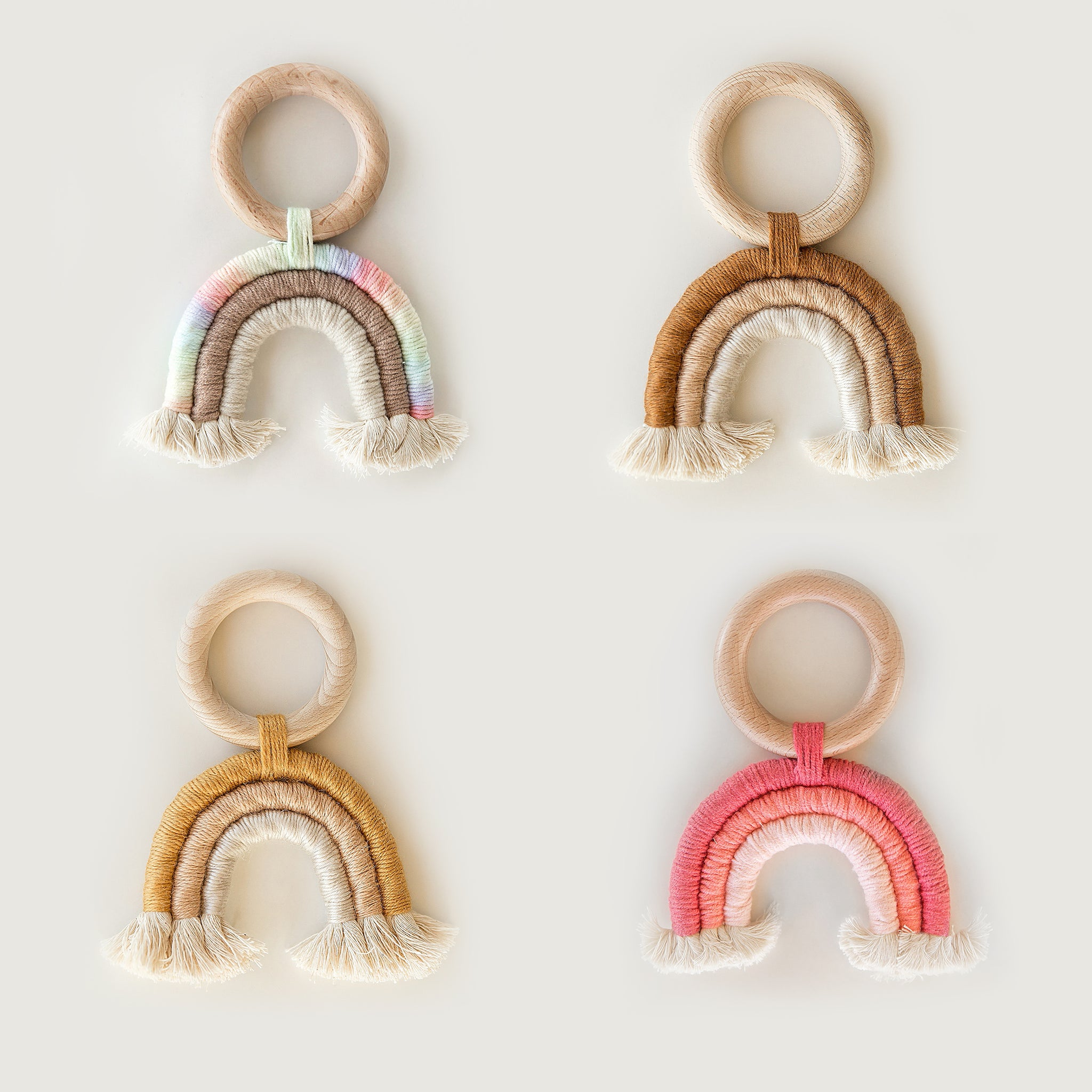 Wooden Macrame Rainbow Teether Toy in Muted Rainbow - Reverie Threads