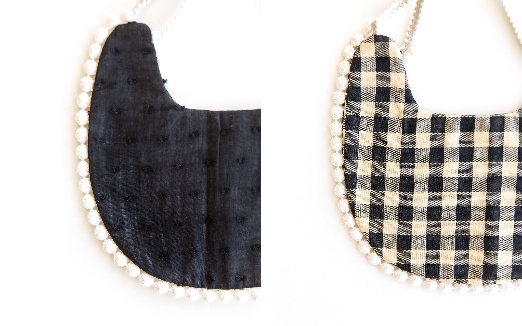 Scalloped Bib in Black Dots & Gingham // Double Sided - Reverie Threads