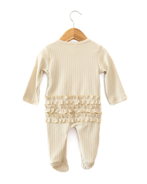 Lux Ruffle Coverall in Cream - Reverie Threads