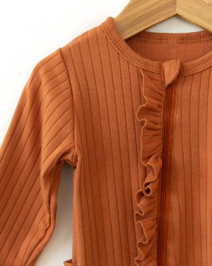 Lux Ruffle Coverall in Rusty Orange - Reverie Threads