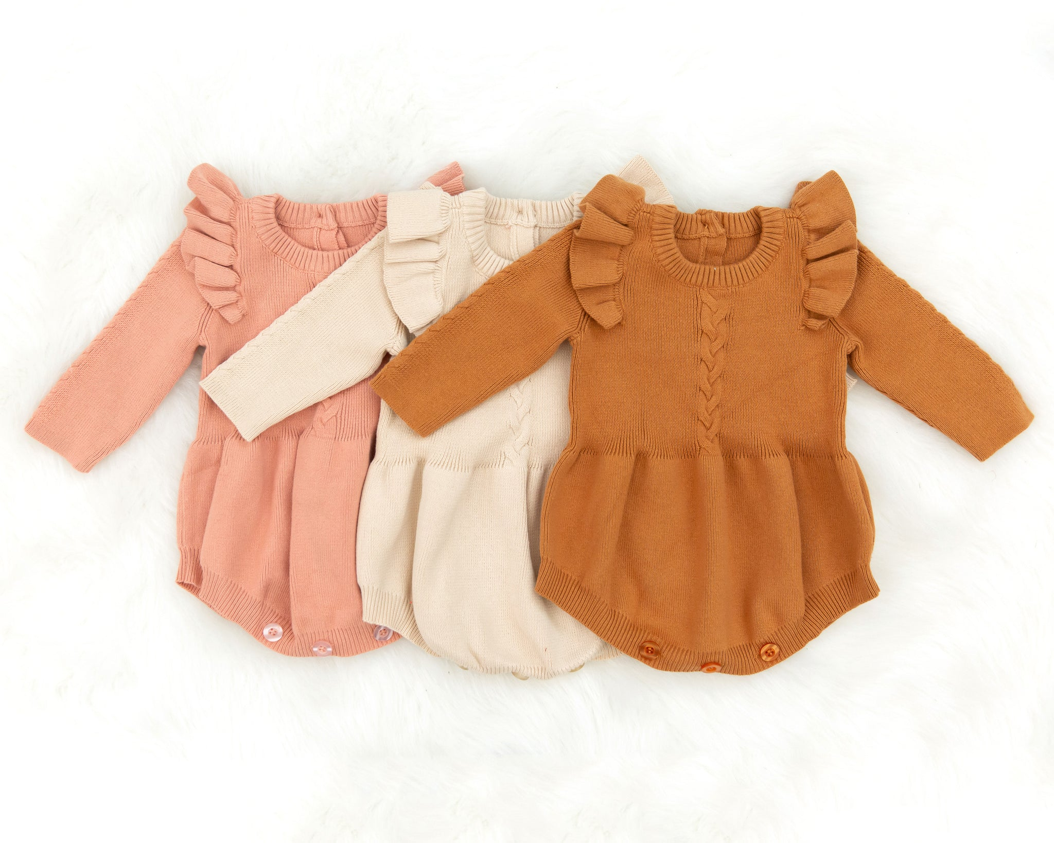 Birdie Knit Romper in Autumn Orange - Reverie Threads