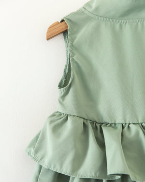 Grace Ruffle Dress in Dusty Mint