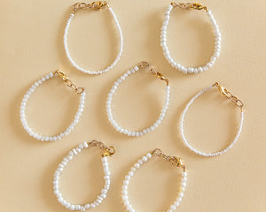 Shimmer Bead Bracelet in White