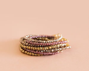 Shimmer Bead Bracelet in Rosy Brown - Reverie Threads