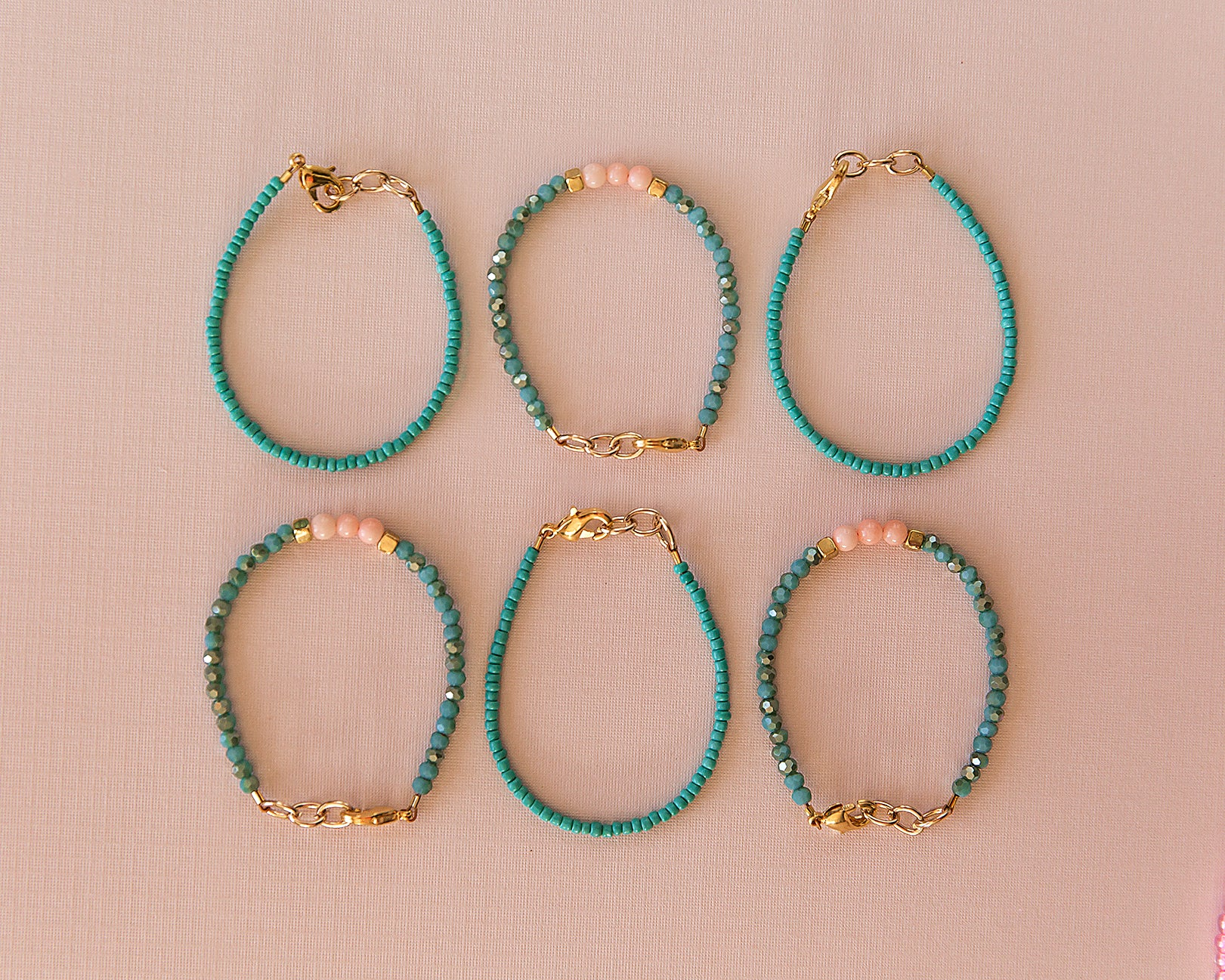 Dainty Bead Bracelet in Turquoise - Reverie Threads