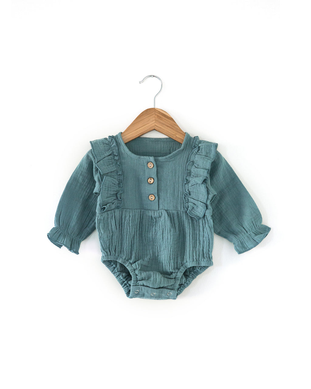 Mae Romper in Stone Blue - Reverie Threads