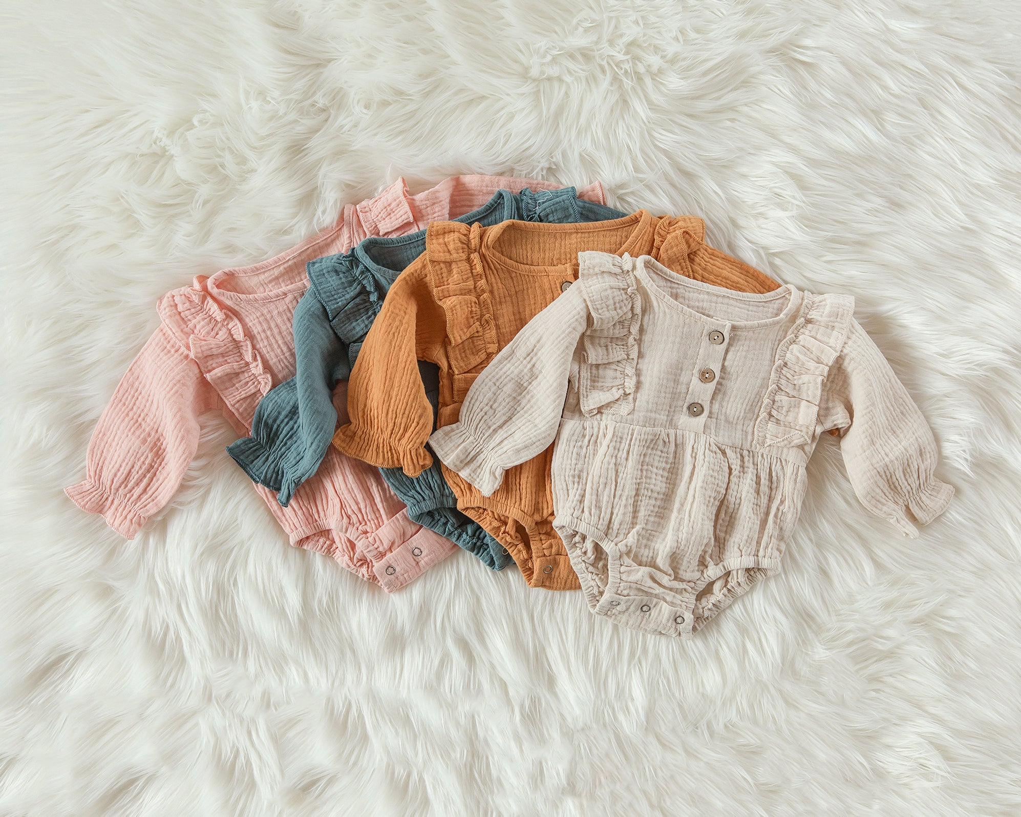 Mae Romper in Peach Sherbet - Reverie Threads