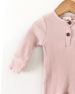 Ribbed Coverall Bodysuit in Blush Pink - Reverie Threads
