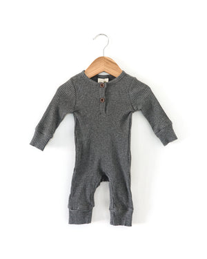 Ribbed Coverall Bodysuit in Charcoal - Reverie Threads