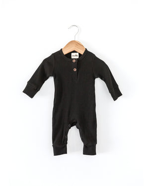 Ribbed Coverall Bodysuit in Black - Reverie Threads