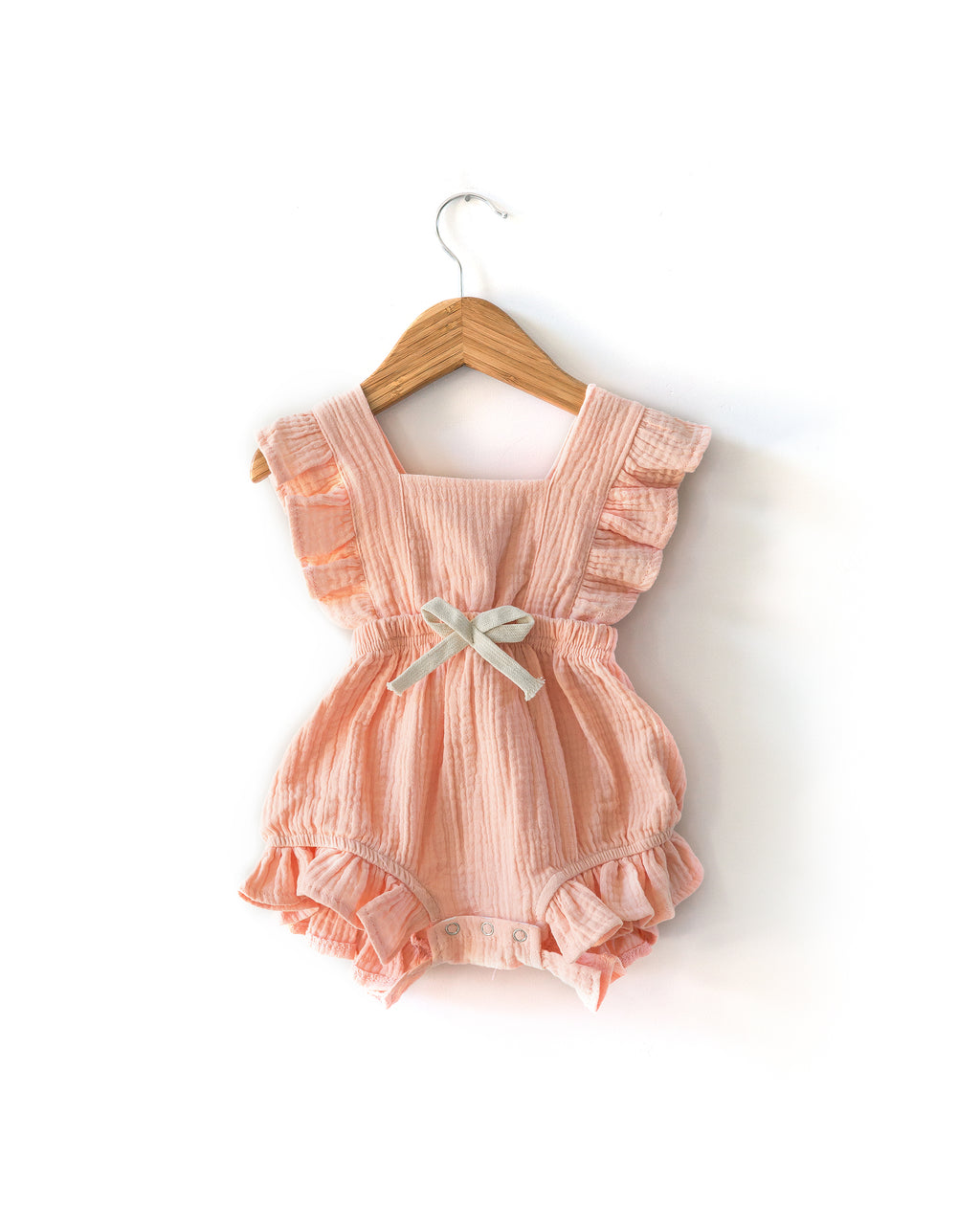 Sofia Romper in Peach Sherbet - Reverie Threads