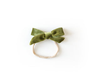 Velvet Bow in Olive Green