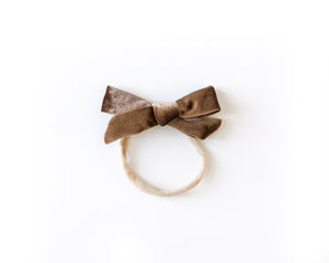 Velvet Bow in Dusty Brown - Reverie Threads