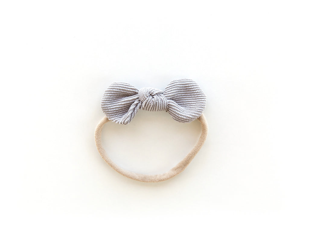 Dainty Corduroy Bow in Gray