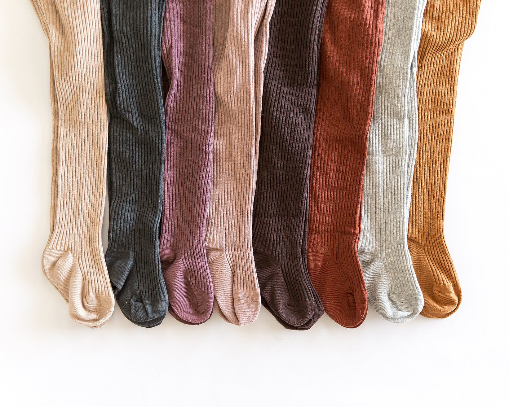 Ribbed Knit Tights in Autumn Orange - Reverie Threads